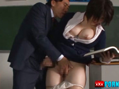 Japanese teacher screams while being fucked by student