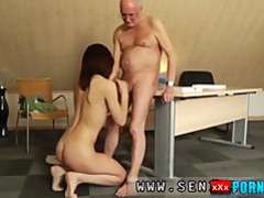 Young girl doing blowjob and fucking with Grandpa