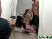 Busty college teen jerks and sucks in trio