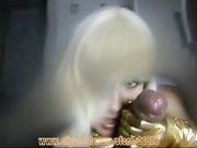 Blonde gloves fingering, a lot of sperm!