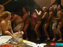 Topless girls dancing in sauna