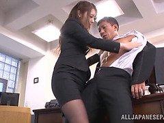 Gorgeous Asian secretary Ayu Sakurai pleases her impressive boss