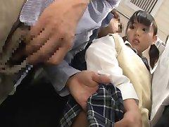 Japanese Schoolgirl Gets Train Choke + Squirting