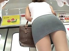 Shiho is fingered before doggy in train