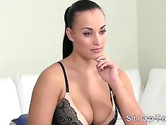 Natural busty amateur takes a strapon deeply