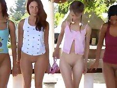 Five naked teenies learn jerking