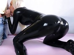 German blonde in latex