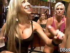 Girls sucking dirty dick of strip dancer