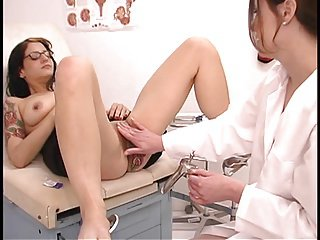 Horny nurses fuck hot brunette patient in glasses