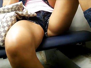 Candid hot legs in traine