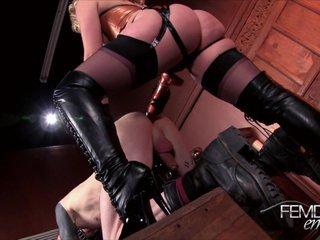 Beautiful blonde Mistress pegs her slave
