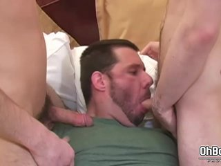 Sucking two dicks and gets a hard anal