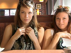 Nasty girls Raylene and Romi flash their butts in reality clip